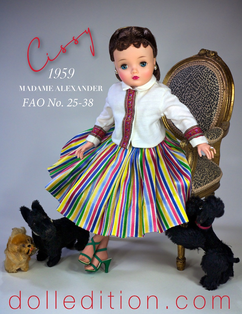 One of the very interesting extra outfits available for Cissy in 1959. This was shown in the 1959 FAO Schwarz catalog as No. 25-38 striped skirt and sweater.