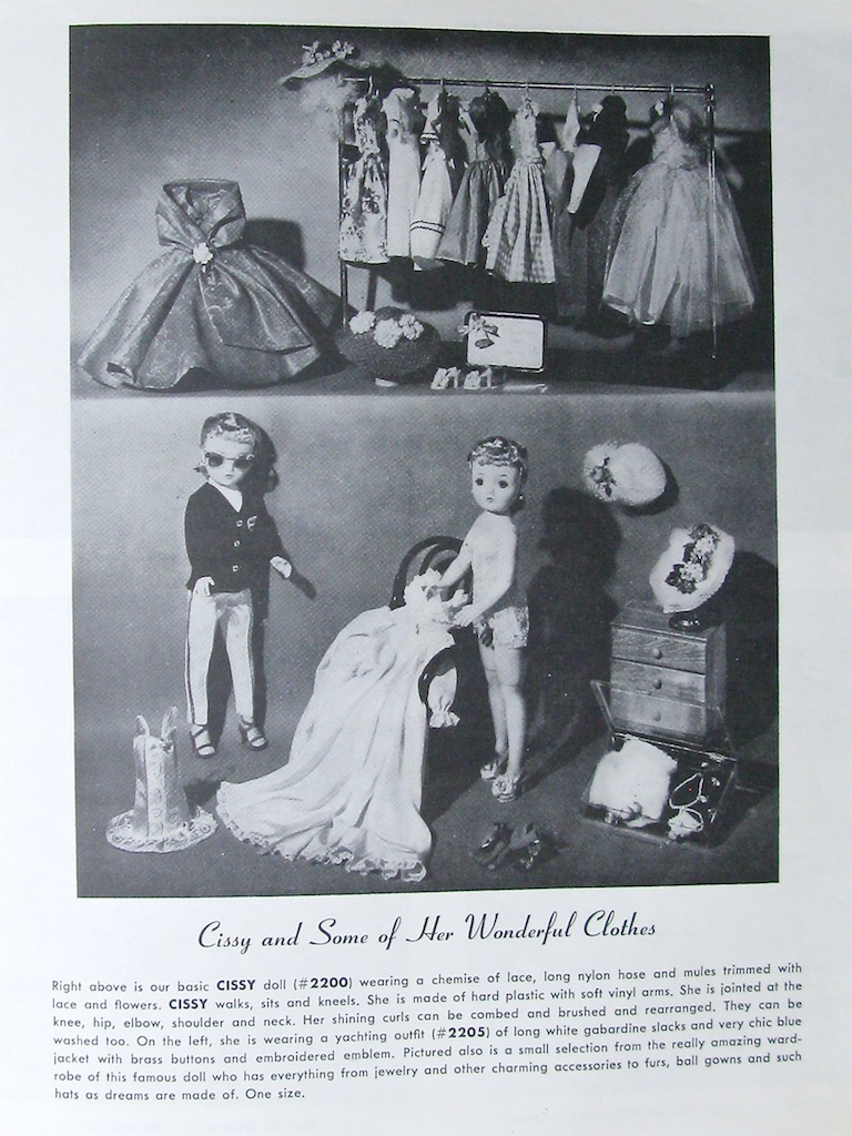 "A page from the 1958 Alexander Company Catalog which is featuring ""Cissy and Some of Her Wonderful Clothes""."