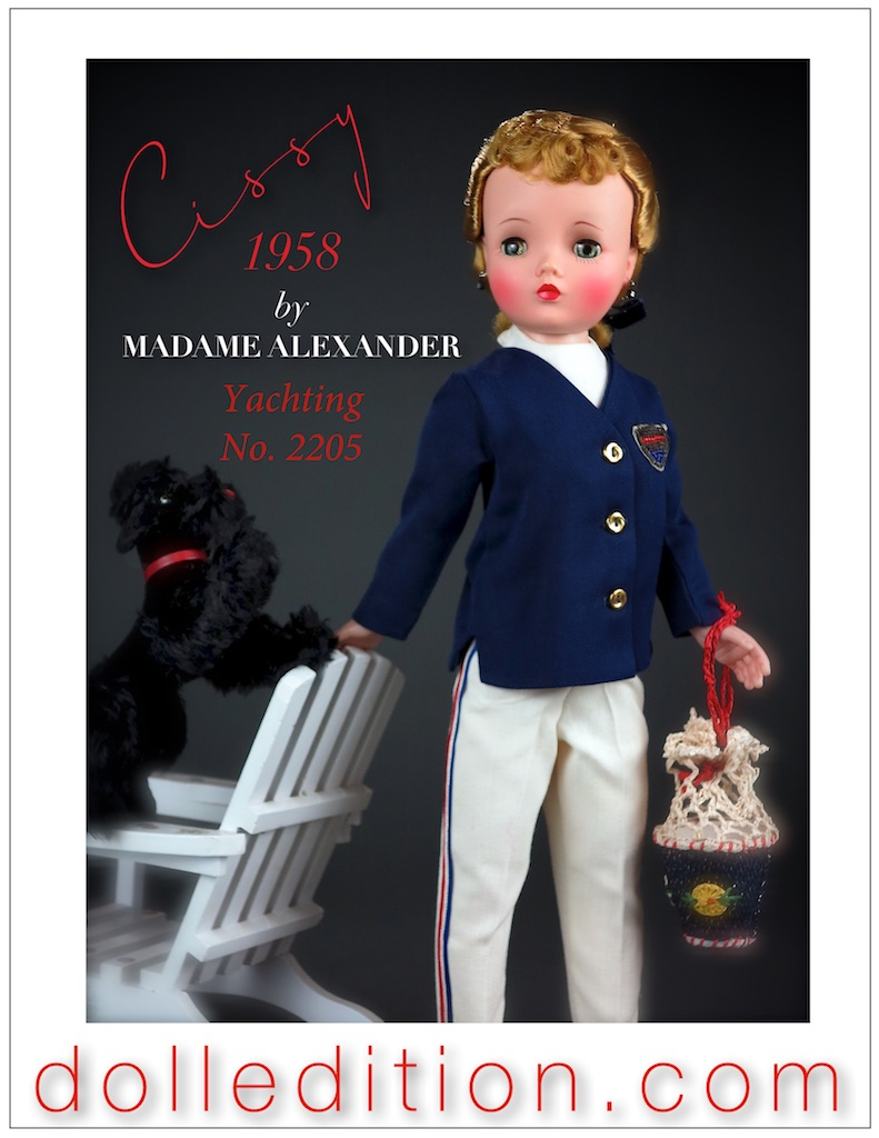 "Cissy contemplates ""Yachting"" wearing her navy blazer with brass buttons, embroidered insignia and long white gaberdine pants with striped accents."