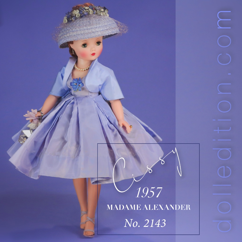 1957 Cissy wearing No. 2143 lilac taffeta afternoon dress with box pleats.   Jewelry includes rhinestone earrings, the iconic pearl necklace of the period and amethyst bracelet and ring.