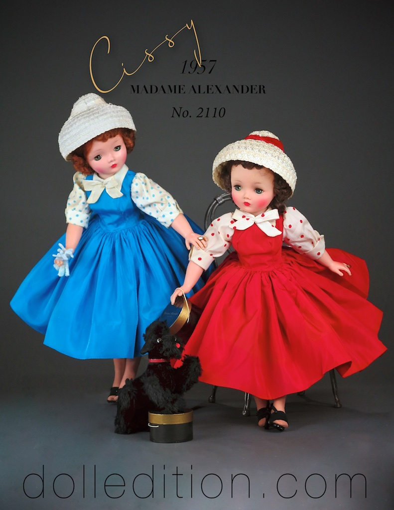Cissy 1957 No. 2110 in both red taffeta and a variation in blue taffeta, and white straw cloche hats with ribbon accents. The doll in red taffeta is an infused Cissy that came out mid year. The blue taffeta example is the earlier painted finish.