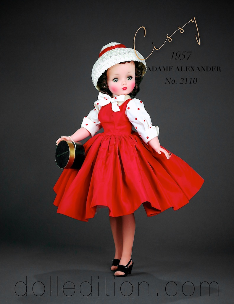 This is an infused example of the same doll. The infused technique came out mid year, and replaced the earlier painted finish that the hard plastic dolls of Madame Alexander started with in 1947.