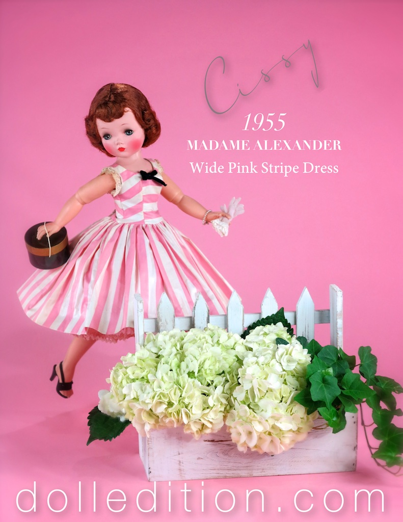 There's a spring in her step - Cissy makes her way into 2017 smartly dressed in a 1955 polished cotton in wide pink and white stripes. This mint in box example comes with the dress, rick rack edged can-can slip and soft pink undies.