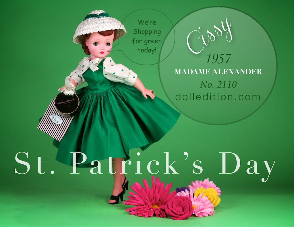 Cissy wearing lucky green for St. Patrick's Day 2017 - 1957 No. 2110 green taffeta shirtwaist dress with green polkadot blouse and a white straw cloche hat accented with a green velvet ribbon.