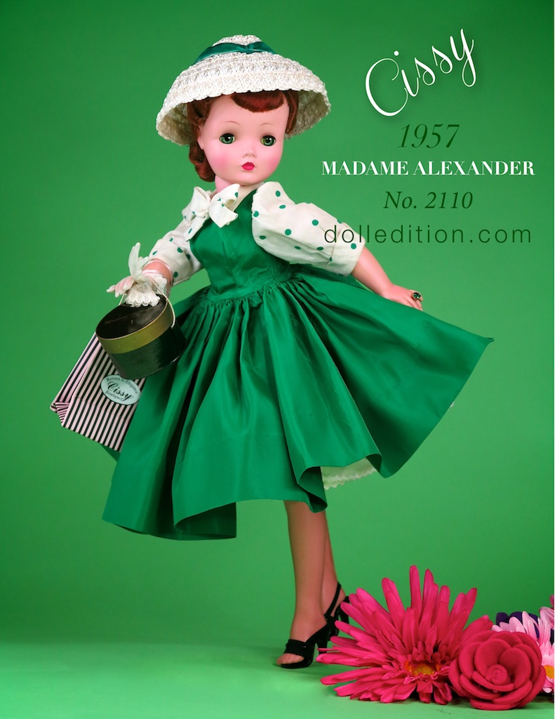 Cissy - 1957 No. 2110 rare green taffeta shirtwaist dress with green polkadot blouse and a white straw cloche hat accented with a green velvet ribbon.