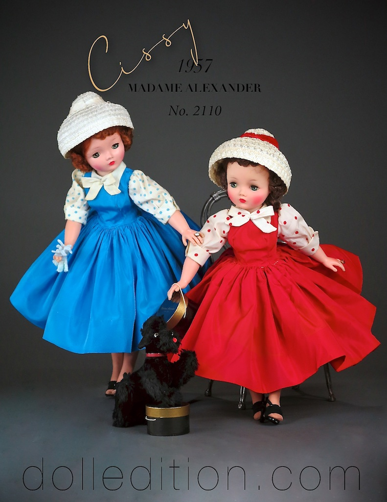 Cissy - 1957 No. 2110 blue and red variations of this taffeta shirtwaist dress with polkadot blouse and a white straw cloche hat accented with a velvet ribbons.