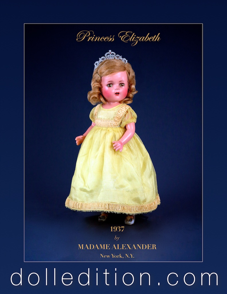 Betty head mold,  wearing her original yellow gown andsilver tiara.  Usually marked  Princess Elizabeth Alexander Doll Co .