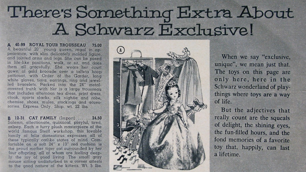 FAO Schwarz 1960 Christmas Catalog showing Queen Cissy and her Royal Tour Trousseau