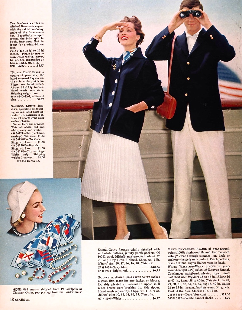 Sears, like fashion retailers across the United States, also promoted the fashion mania of nautical and navy looks - children, adults and fashion dolls alike wanted the look!