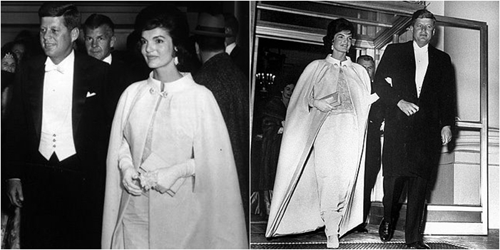 First Lady Jacqueline Kennedy and her January 1961 iconic ivory inaugural gown and cape.