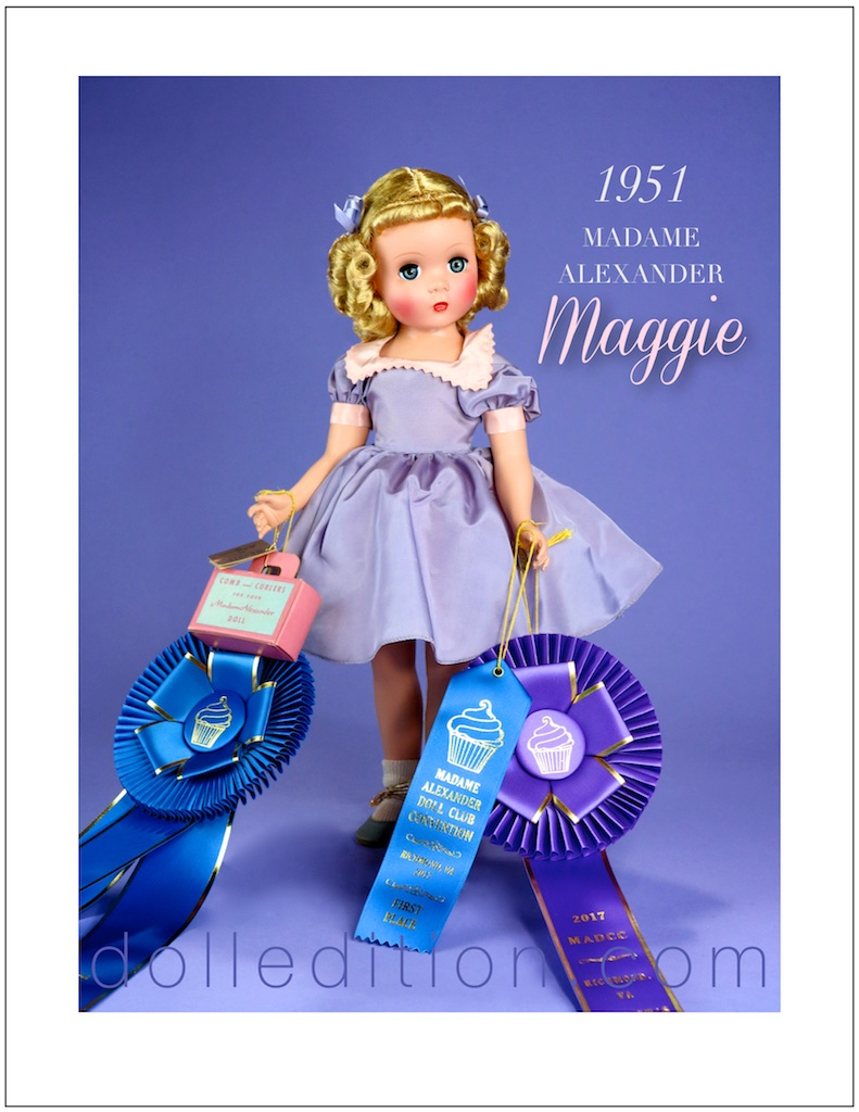 1951 mint in box lavender Maggie won First Place, Judges Choice and 2017 Favorite Doll ribbons.