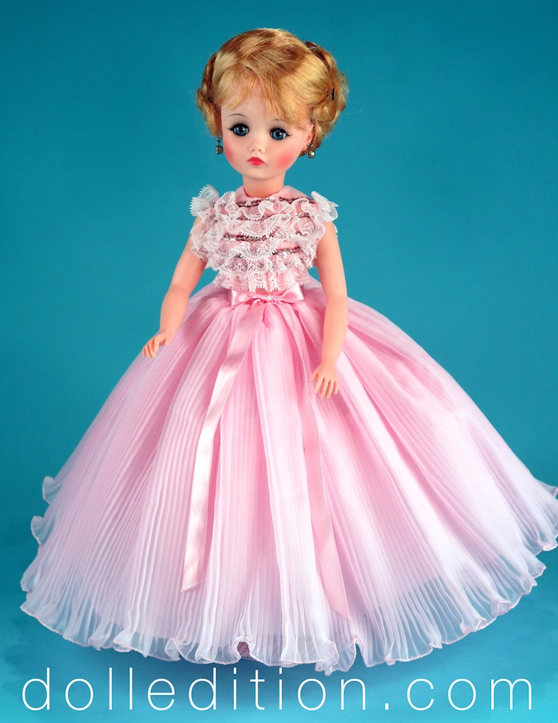 """Elise gown No.1750_1966 - This was also used for the 1966 FAO Schwarz Elise Takes a Trip"""" trunk set."""