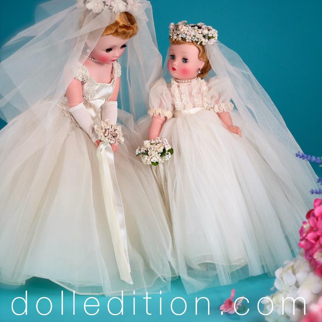 """Cissy 20"""" 1957 Bride No. 2170 and 16-1/2"""" 1959 -Elise Bride No. 1835"""