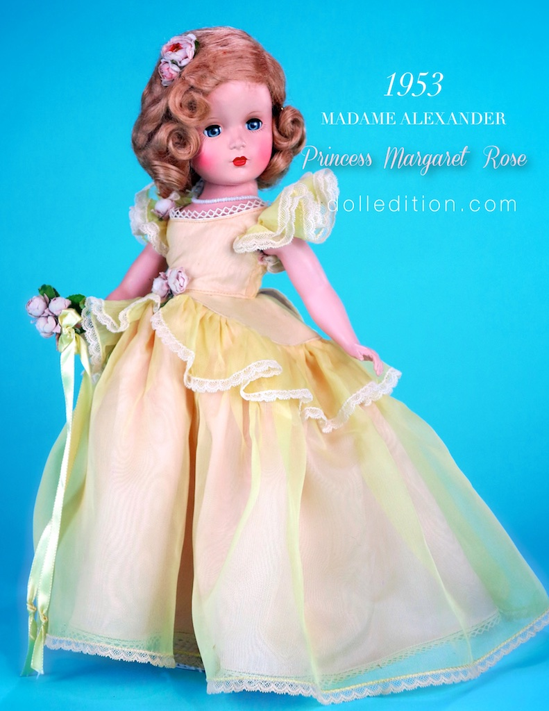 Madame Alexander was able to touch on two favorite themes - the wedding party and the British royal family.