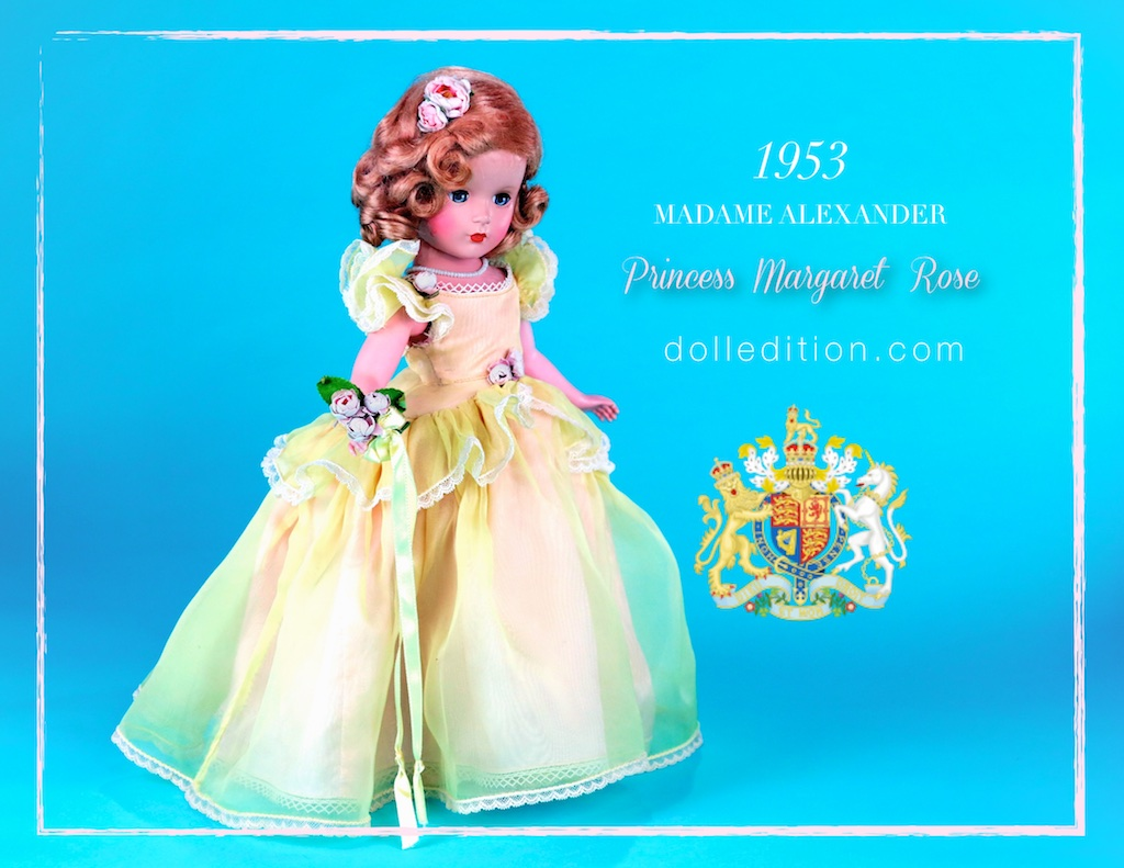 """14"""" Princess Margaret Rose romantic bridesmaid in lace trimmed buttercup yellow organdy with soft pink taffeta underneath."""