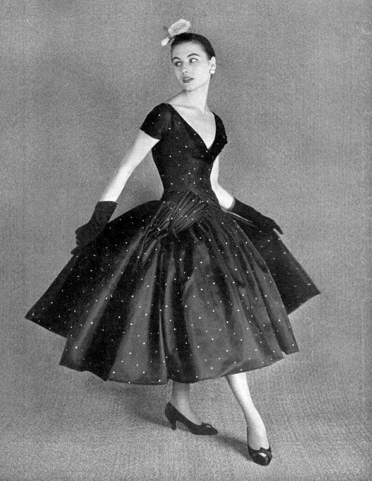 Demi-Longueur (ballerina length) 1955 dotted silk dress by Hubert de Givenchy.