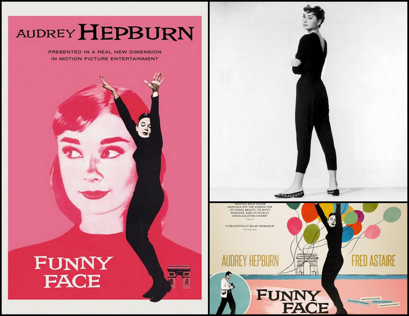 Audrey Hepburn, a former ballerina, contributed to the huge popularity of the ballet at this time in her costuming in FUNNY FACE. The ballet flat and leotard were influences of ballet culture and costuming on the world of fashion .