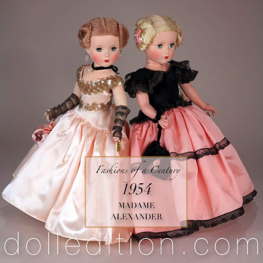 A stunning matched pair of the rare dolls from the 1954 FASHIONS OF A CENTURY series.