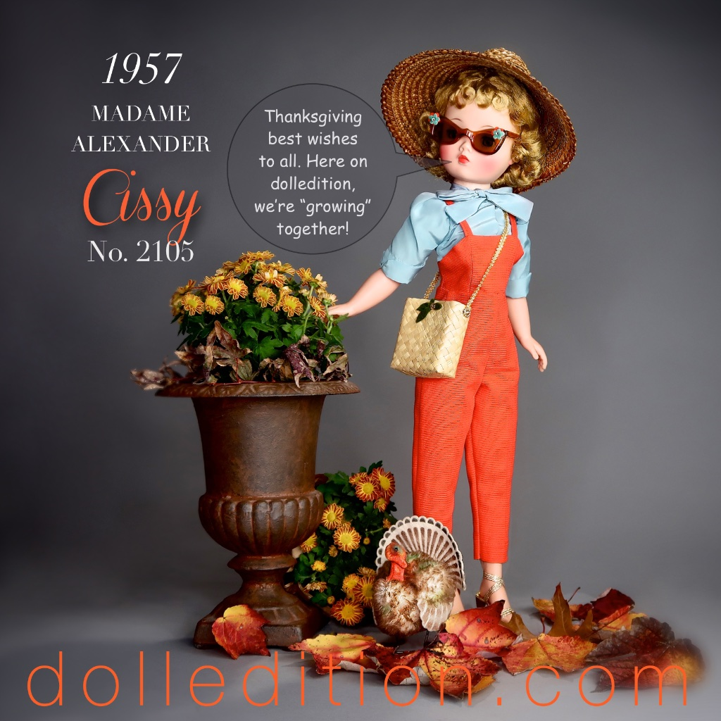 A Steiff turkey follows Cissy to meet-and-greet in this 2017 Thanksgiving Holiday dolledition.com post.