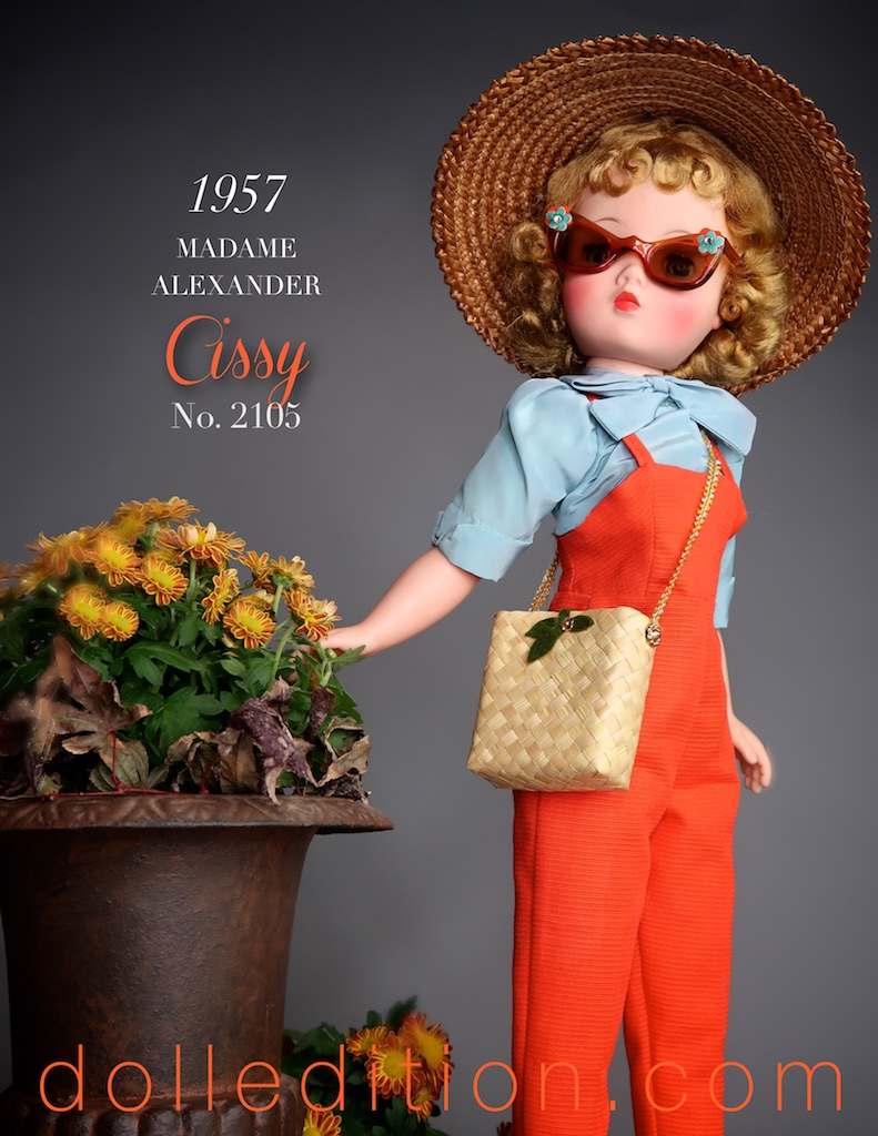 Cissy is picture perfect in her 1957 No. 2105 Gardening ensemble by Madame Alexander.