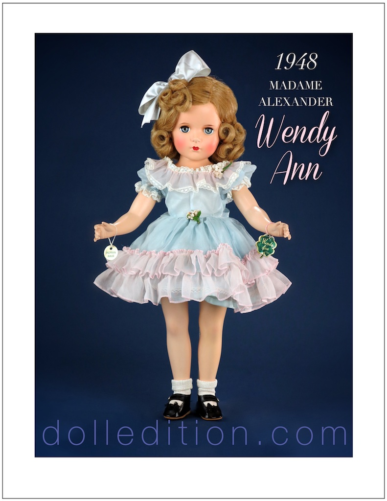 "1948 Wendy Ann 18"" early hard plastic doll by the Madame Alexander Doll Company."