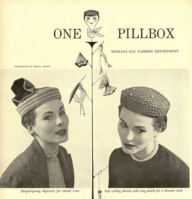 Mid-century pillbox millinery ad