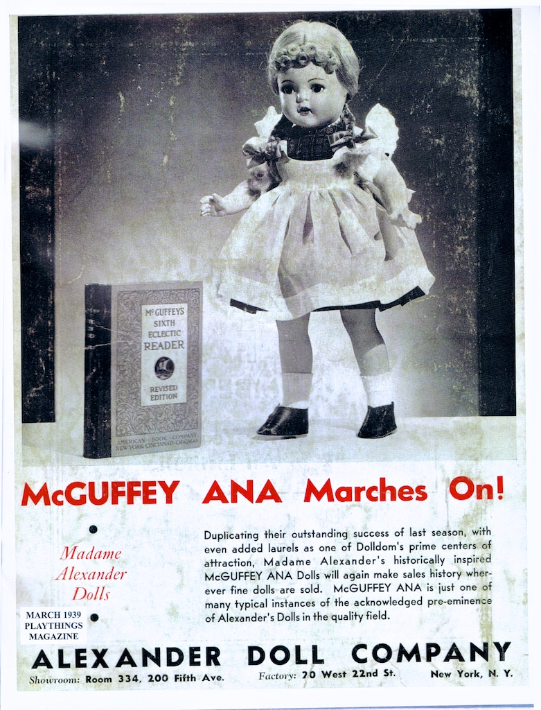 March 1939 Playthings Magazine for the Alexander Doll Company and their composition McGuffey Ana.
