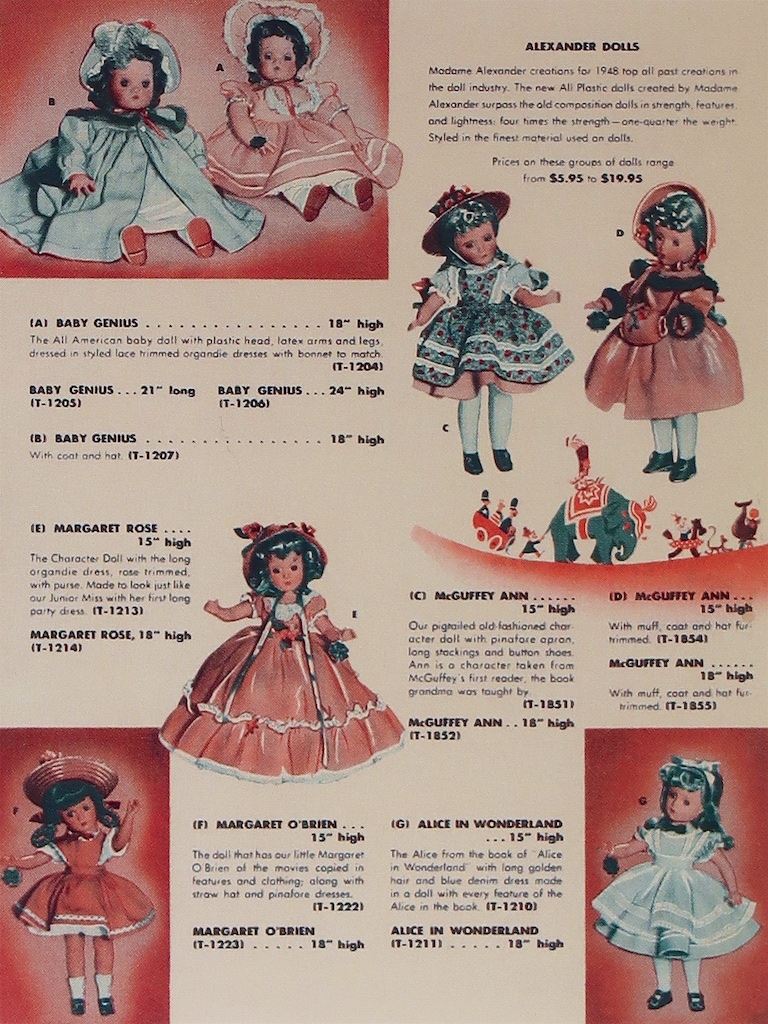 "On this 1948 catalog page, the Alexander Dolls announces their introduction of hard plastic ""The new All Plastic doll created by Madame Alexander surpass the old composition doll in strength, features and lightness."""