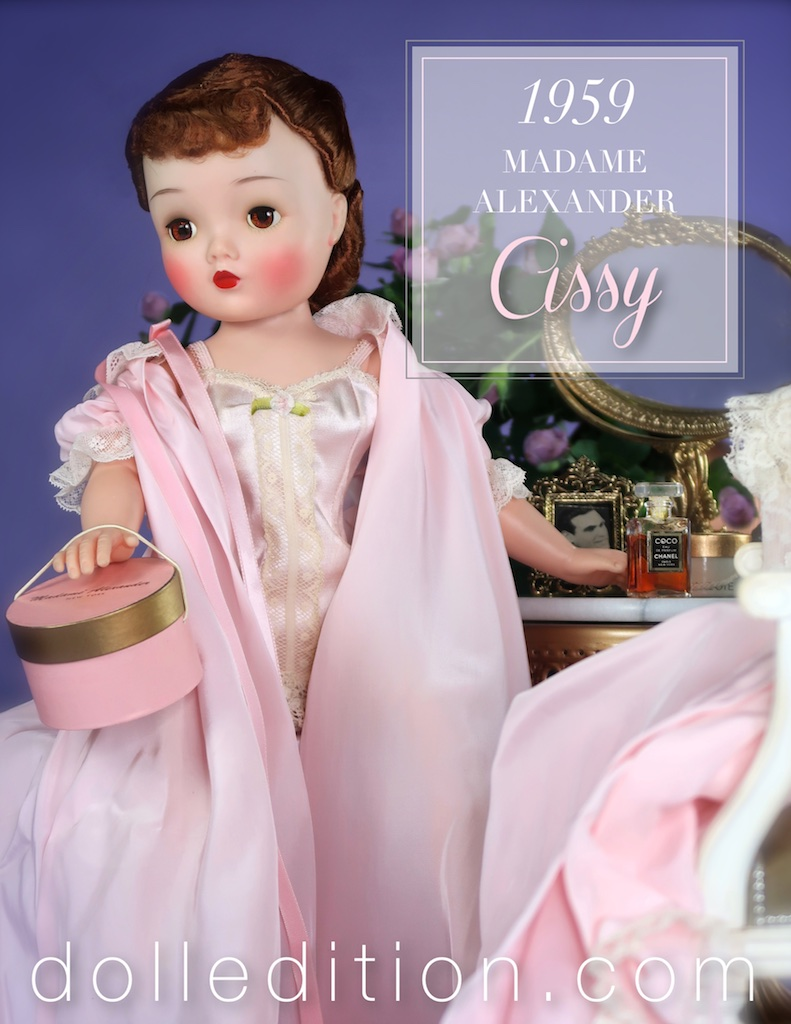 Cissy is wearing lingerie from 1958. The doll is estimated to be right at the transition of 1959 when a new format of stringing dolls and one piece arms that were both better suited for various dolls Alexander had in the works.