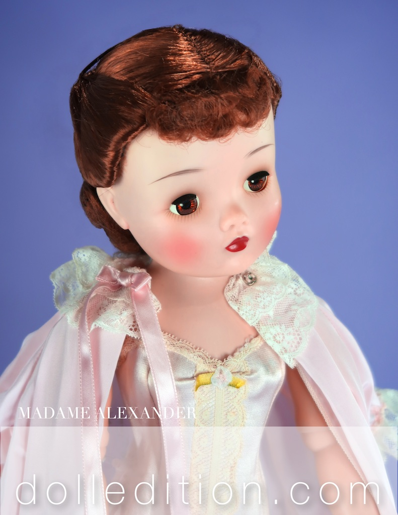 The new Cissy head mold that started to appear in 1959 had a bigger neck opening which caused it to sit lower on the dolls neck. The plastic had a more irrodescent quality to it, which added a suttle new feature.
