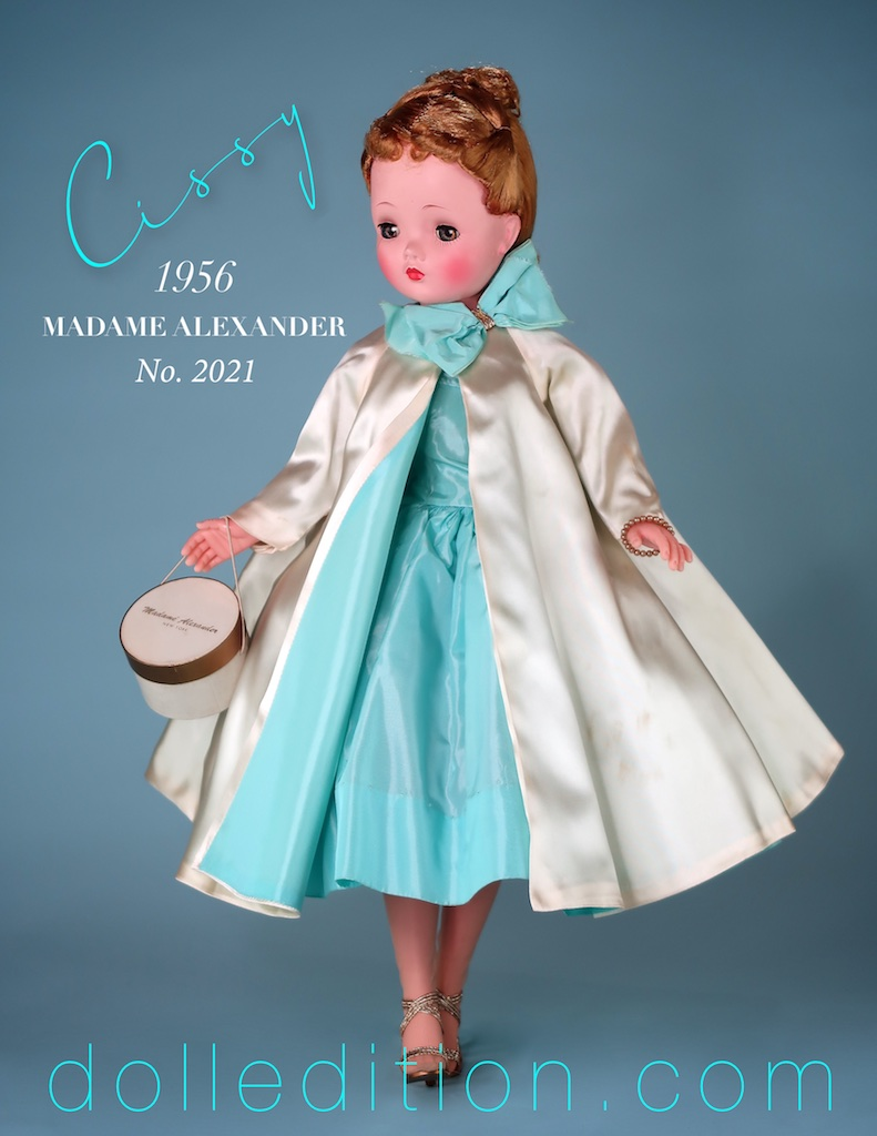 While one of the more familiar Cissy's to collectors, the costuming of this doll reflects many different fashion influences of the mid-century.