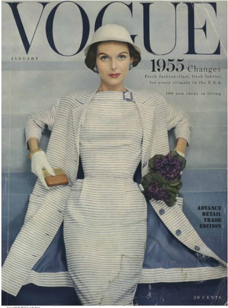 Vogue Magazine featuring the matched dress and coordinating coat lining on their 1955 cover.
