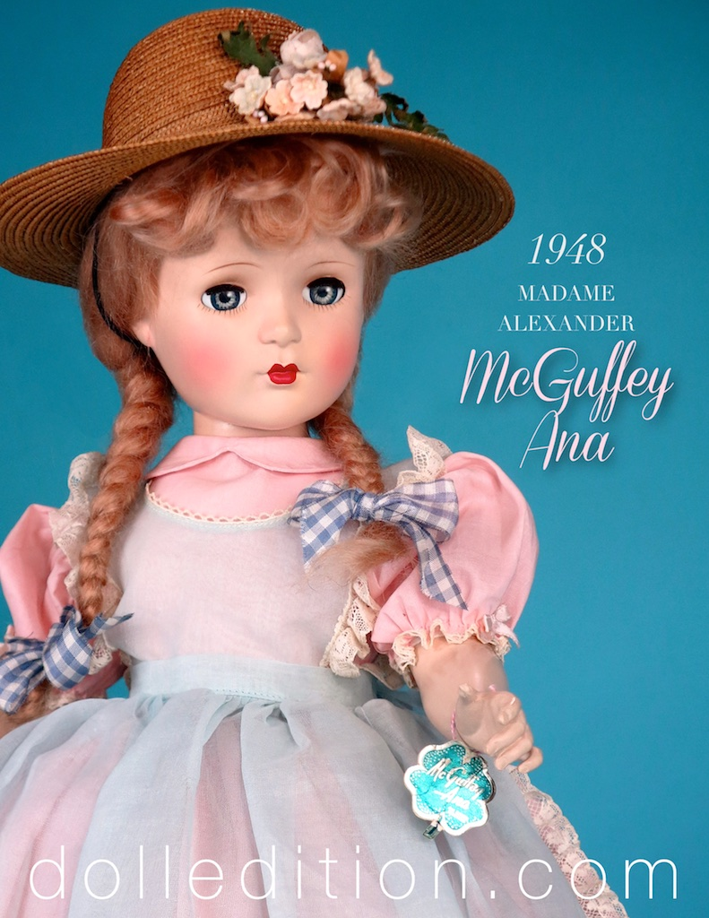 21 inch McGuffey Ana 1948 early hard plastic by Madame Alexander -  This example wears a pale blue organdy apron.