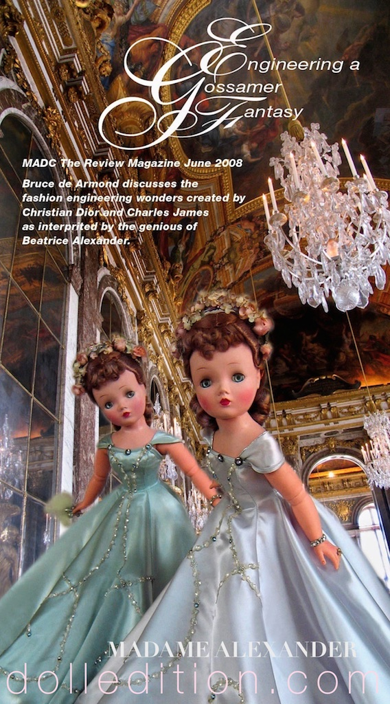 Two versions of Cissy 1955 No. 2097 in both blue and silver satin gowns for 2008  THE REVIEW  article.