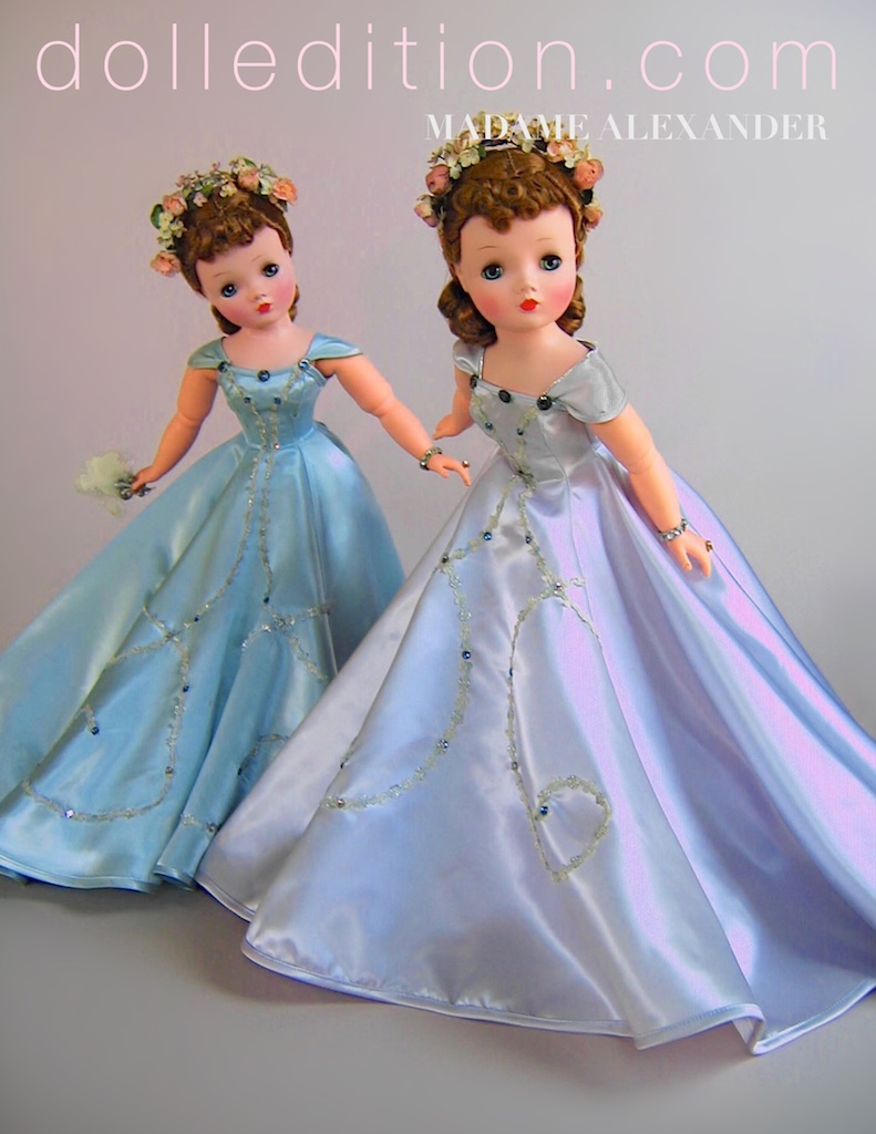Cissy is featured in the mode of Charles James. Both examples are wearing variations of her 1955 No. 2097 gowns. Dolls are by  Madame   Alexander.