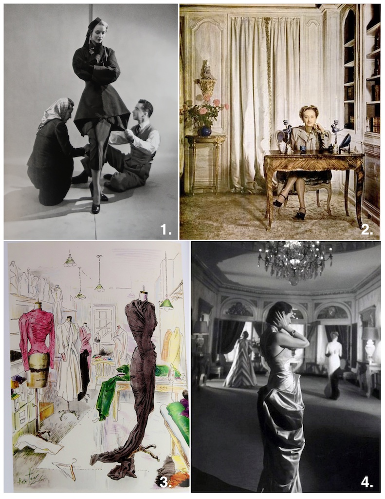 1.  Charles James 1948 designing.Charles James is often called the only true American couturier;Charles James (1906-1978) was the first couturier to debut for Arden's Fashion Floor.  2 . American Fashion Queen Hattie Carnegie  3 .Interior of Elizabeth Arden's Atelier, Designed by Charles James & Illustrated by Cecil Beaton.  4. Interior of Second Floor Elizabeth Arden Showroom & Salon.