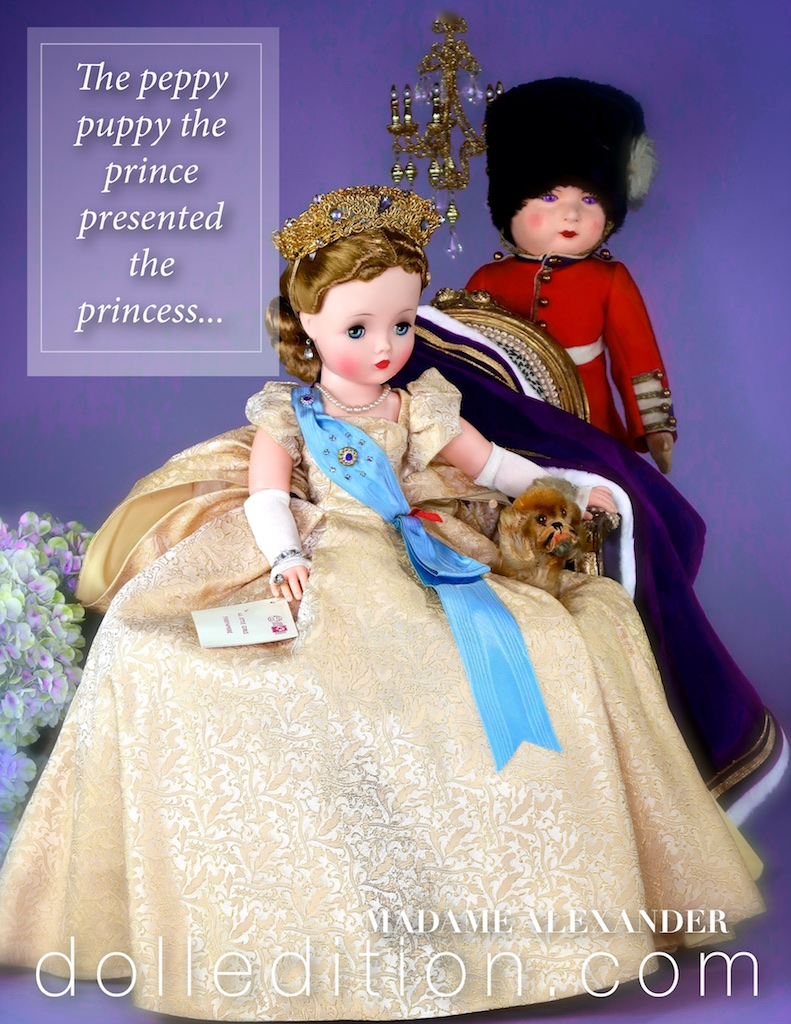 "Cissy 1958 21"" Queen NO. 2281 by Madame Alexander takes a moment with her ""Prince"" by Chad Valley and ""Puppy"" by Steiff."