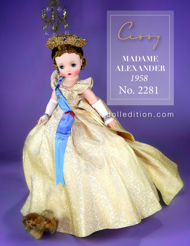 "Cissy 1958 21"" Queen NO. 2281 by Madame Alexander wearing a court gown of gold brocade. Her tiara is sparkling with gems. Long white gloves, glittering sewels. She is regal and romantic."