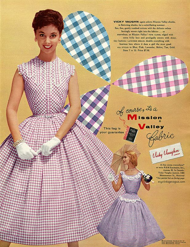 Gingham was a very popular print for the 1950s day dress, and perfect for spring and summer, and was available in any number of colors.