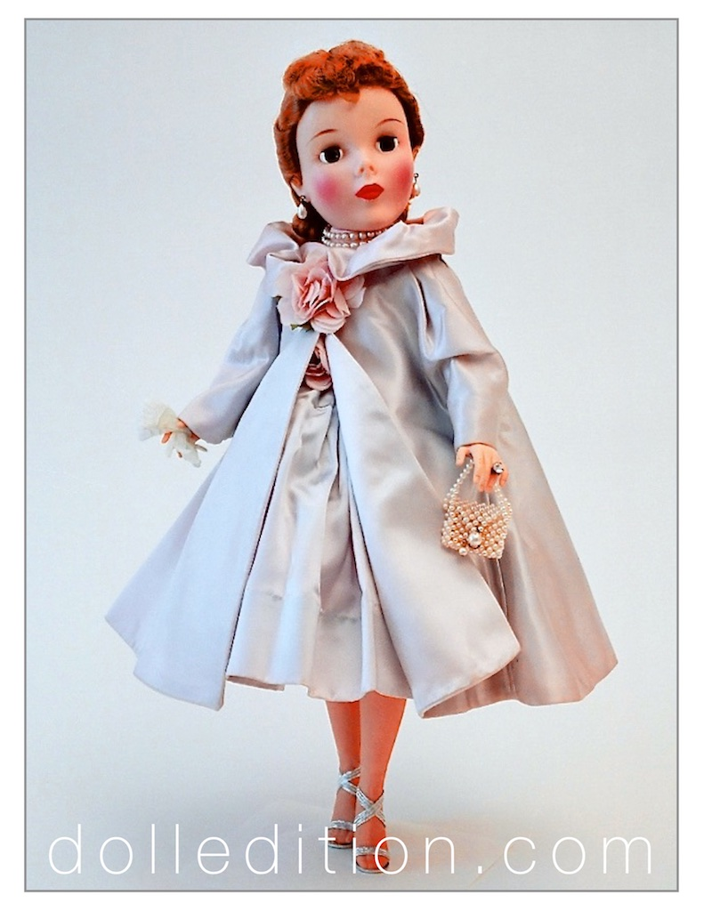 As photographed at her arrival to me in 1990 wearing both the coat and dress of the No. 2440 Shari Lewis.