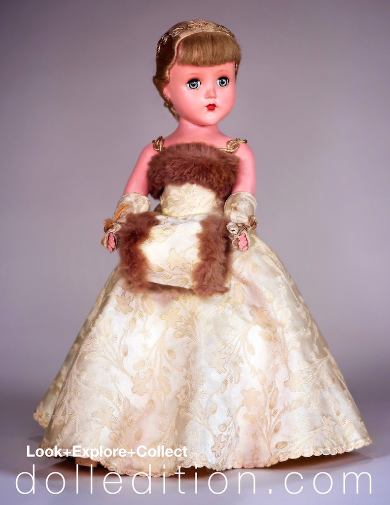 During the early introduction of hard plastic dolls of the 1950s, Alexander, R&B and American Character Doll Companies shared factory space. The brocade fabric used on this Nanette gown was also used by Alexander.