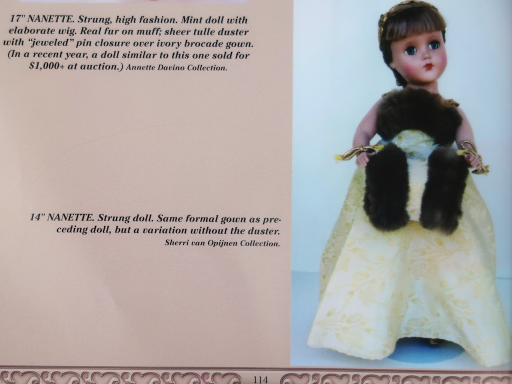 "The book, ""Arranbee Dolls "" published in 2004, has the correct identification for Nanette."