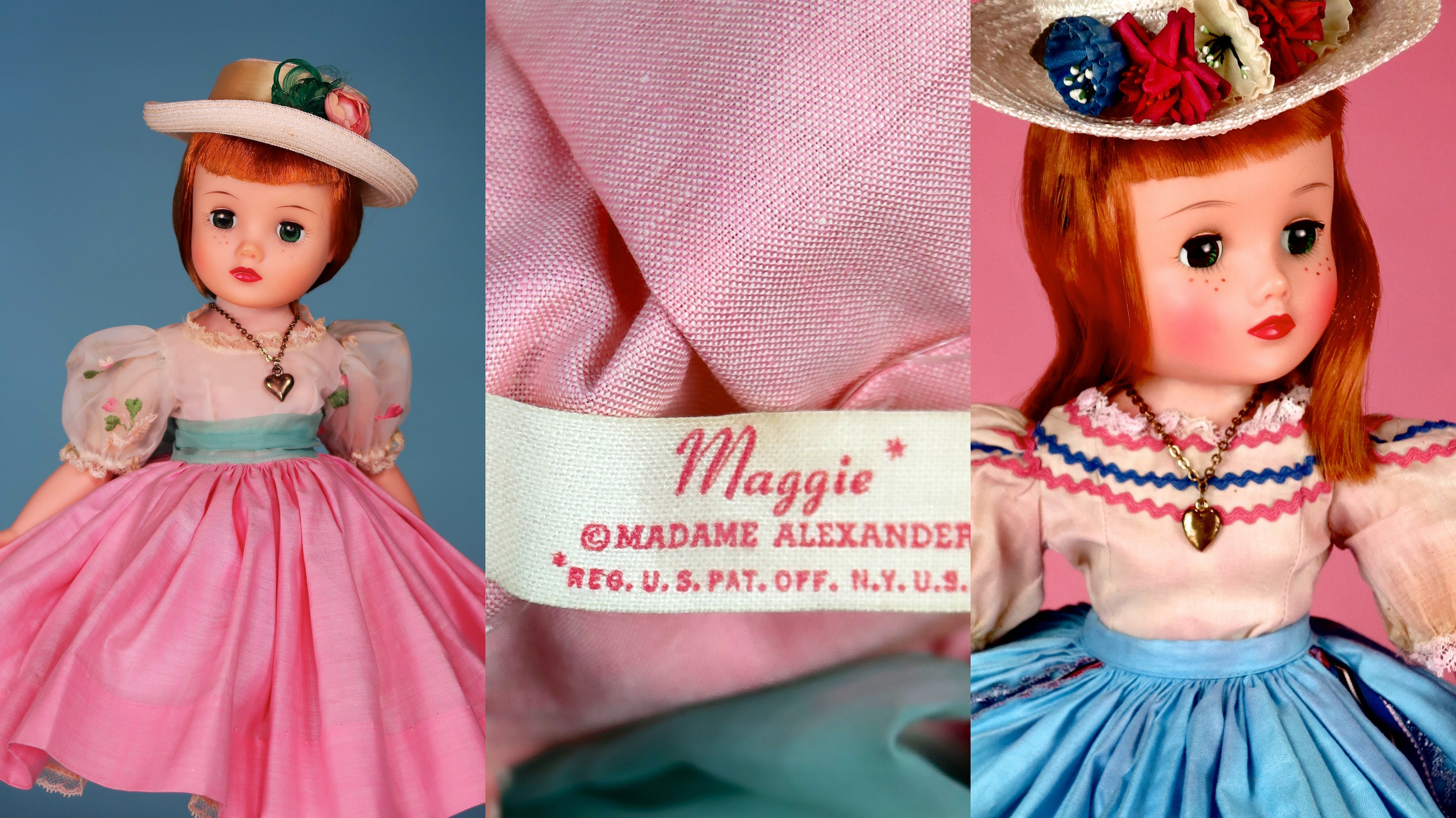 "LEFT: Part of the dolls marketing was the heart necklace that the company catalog describes ""shows how sentimental she is."" MIDDLE: ""Maggie Mixup"" got her own tag ""Maggie,"" and was registered with the US Patent Office. RIGHT: Maggie Mixup 1961 No. 1855, 17 inch - Maggie grew by 1/2 inch."
