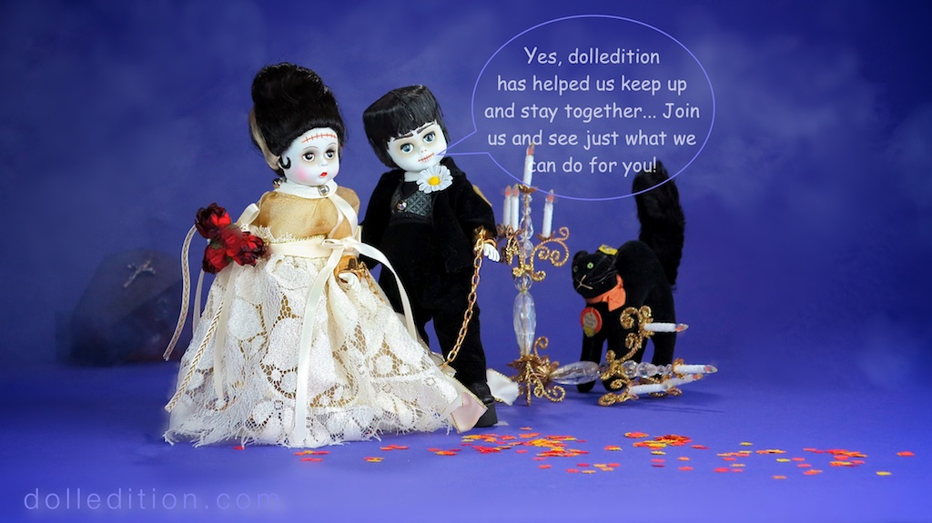 "Halloween 2016 - dolledition.com / 1994 "" Mr. & Mrs. Frankenstein"" by the Alexander Doll Company, "" Tom Cat"" by Steiff c. 1960"