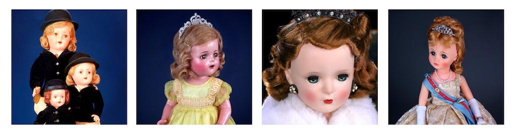 "FROM LEFT: Composition Princess Elizabeth,1937 - 24"", 17"", 14"" / Composition Princess Elizabeth, 1937 - 17"" / Hard Plastic Queen Elizabeth, 1954, 18"" / Hard Plastic & Vinyl Queen Elizabeth (Elise), 1966, 17"""