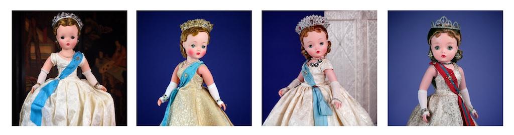 """FROM LEFT: Hard Plastic & Vinyl Cissy / Queen Elizabeth 1955, 20"""" / Hard Plastic & Vinyl Cissy / Queen Elizabeth 1957, 20"""" / Hard Plastic & Vinyl Cissy / Queen Elizabeth 1959, 21"""" / Hard Plastic & Vinyl Cissy / Queen Elizabeth 1962, 21"""""""