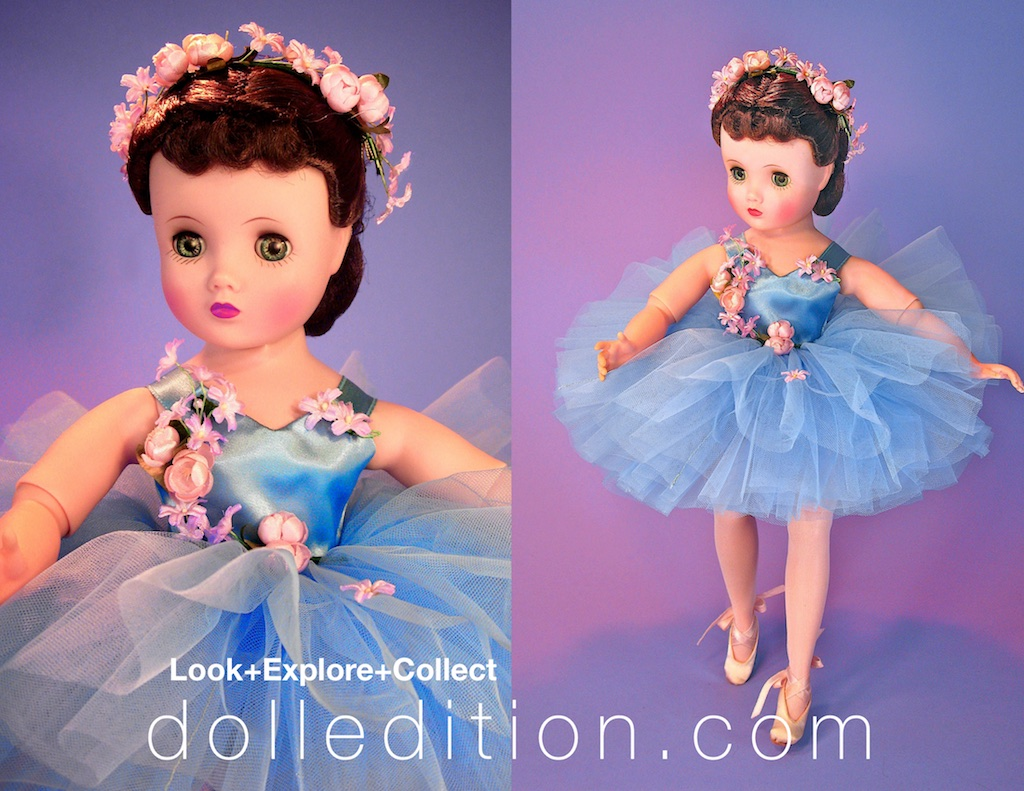 Elise 1957 #1635 blue ballerina - Elise was a brand new doll for Alexander, just being introduced that year. Forbes & Wallace featured the perennial favorites of Bride and Ballerina.