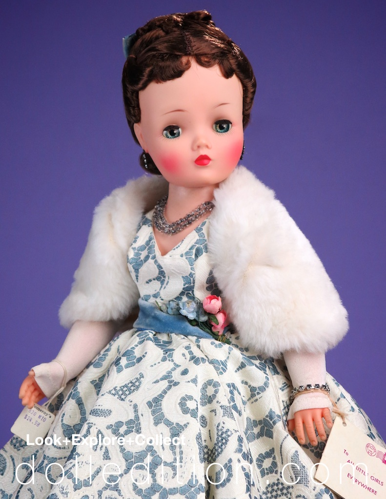 """Cissy 1957 """"Opera"""" #2172 gowned Cissy shown in the Forbes & Wallace Christmas catalog page."""