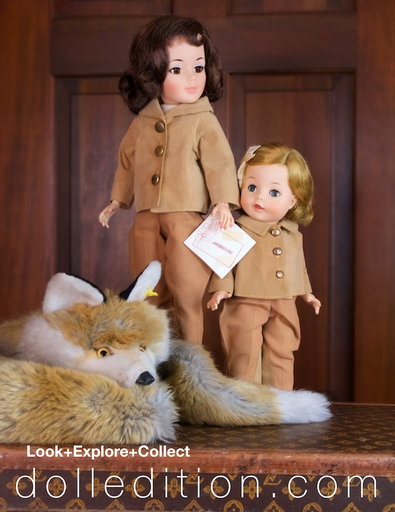 """Jacqueline"" is accompanied by 15 inch"" Caroline,"" No. 1312, also dressed for the stables and a visit with her pony. A Steiff faux fox fur,No. 1545/99 1976, is taking a nap before the fun begins."