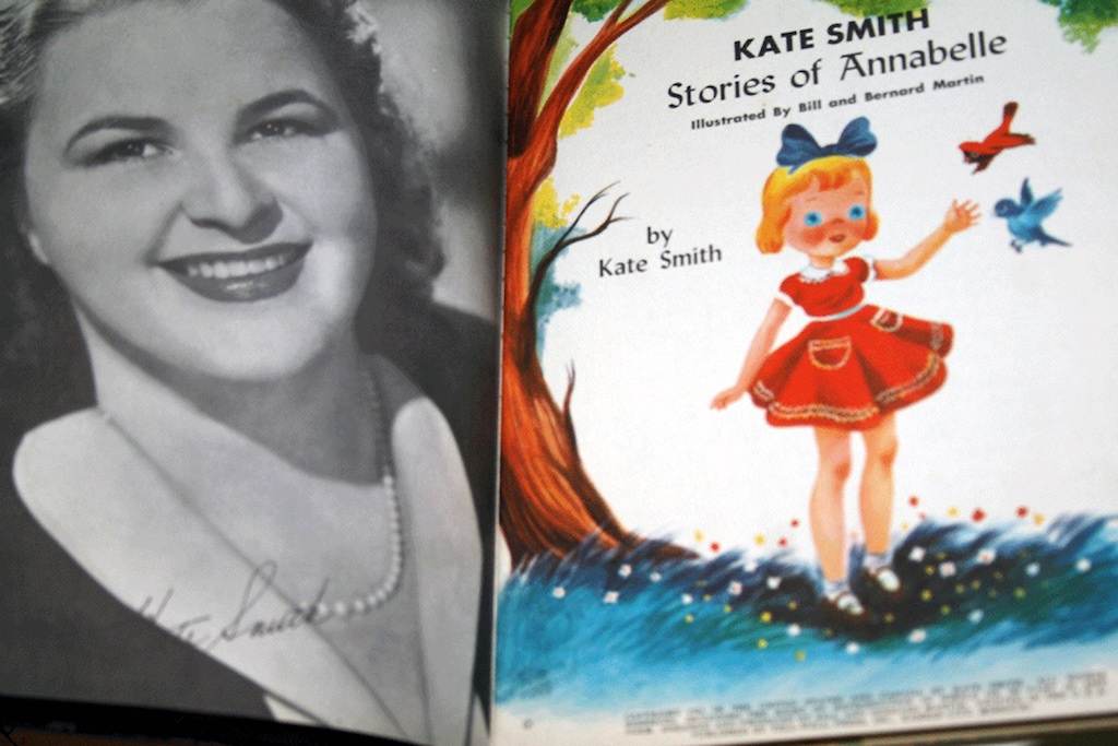 Kate SmithStories ofAnnabelle - 1952, Annabelle was made for one year only, inspired by the stories of Annabelle written by the beloved singer and television performer Kate Smith.The costume is tagged Kate Smith's Annabelle, Madame Alexander.